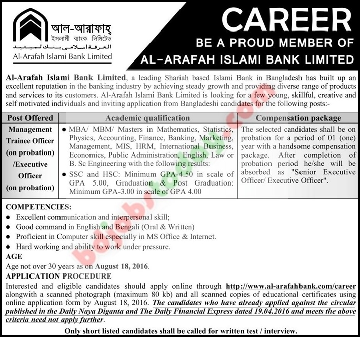 a internship report of hrm practices o al arafah islami bank Holding companies supervisory expectations and range of current practice internship report on deposit and investment management of al-arafah islami bank.