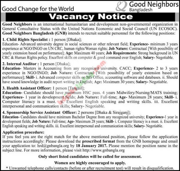 Good Neighbors Bangladesh jobs