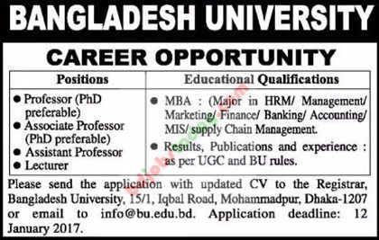 Bangladesh University jobs