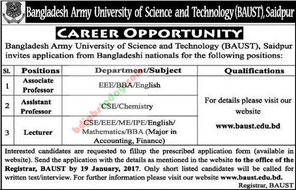 Bangladesh Army University of Science and Technology-BAUST jobs