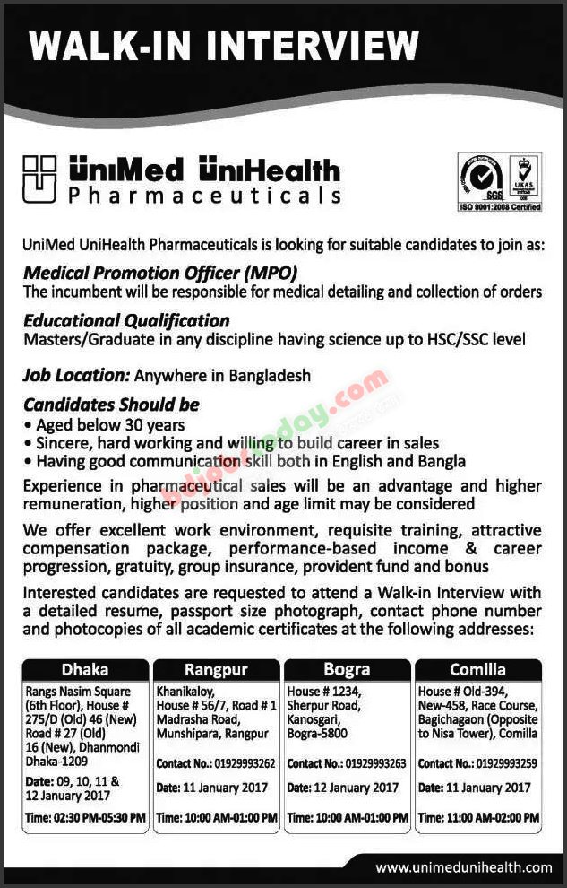 UniMed UniHealth Pharmaceuticals Limited jobs