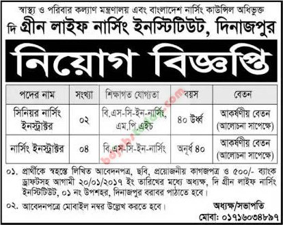 The Green Life Nursing Institute, Dinajpur jobs