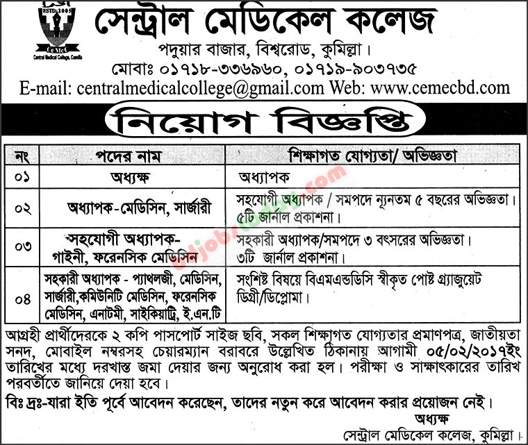 Central Medical College jobs