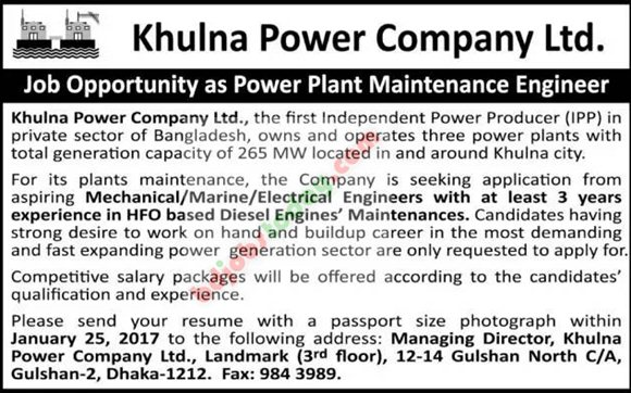 Khulna Power Company Ltd jobs