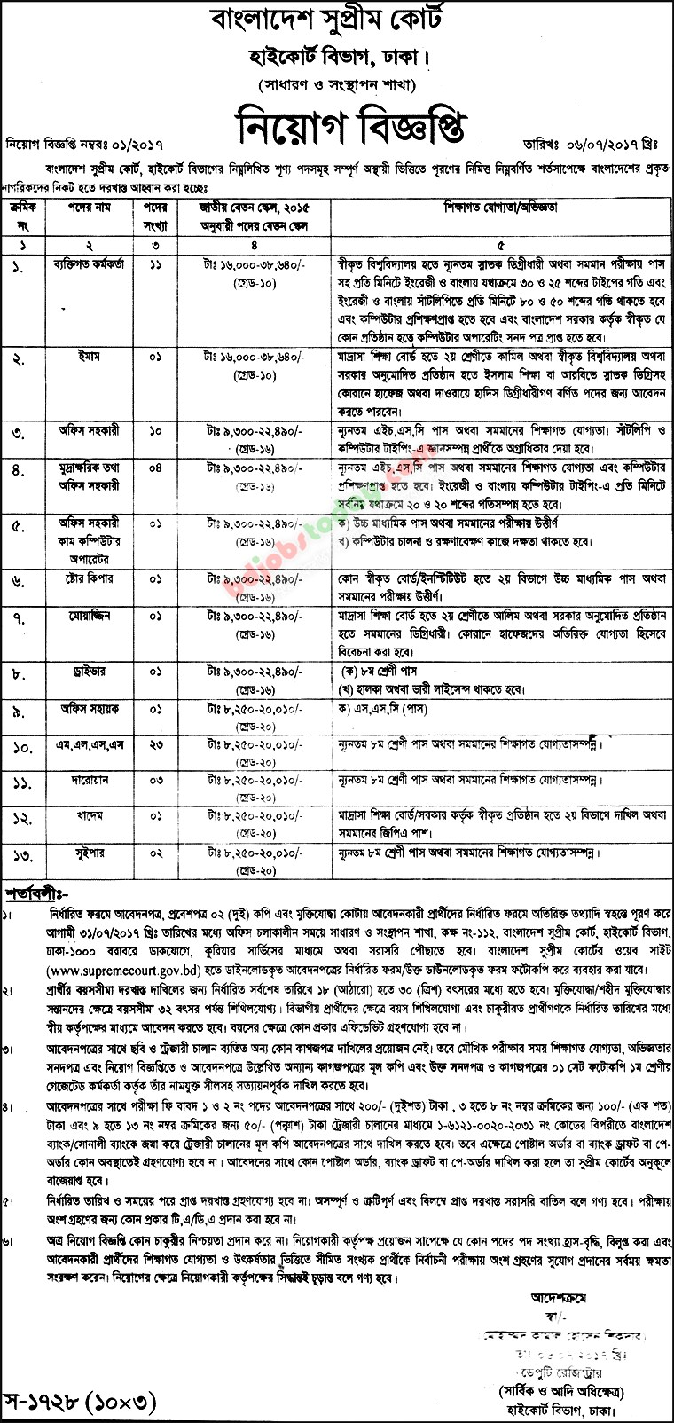 Bangladesh Supreme Court jobs