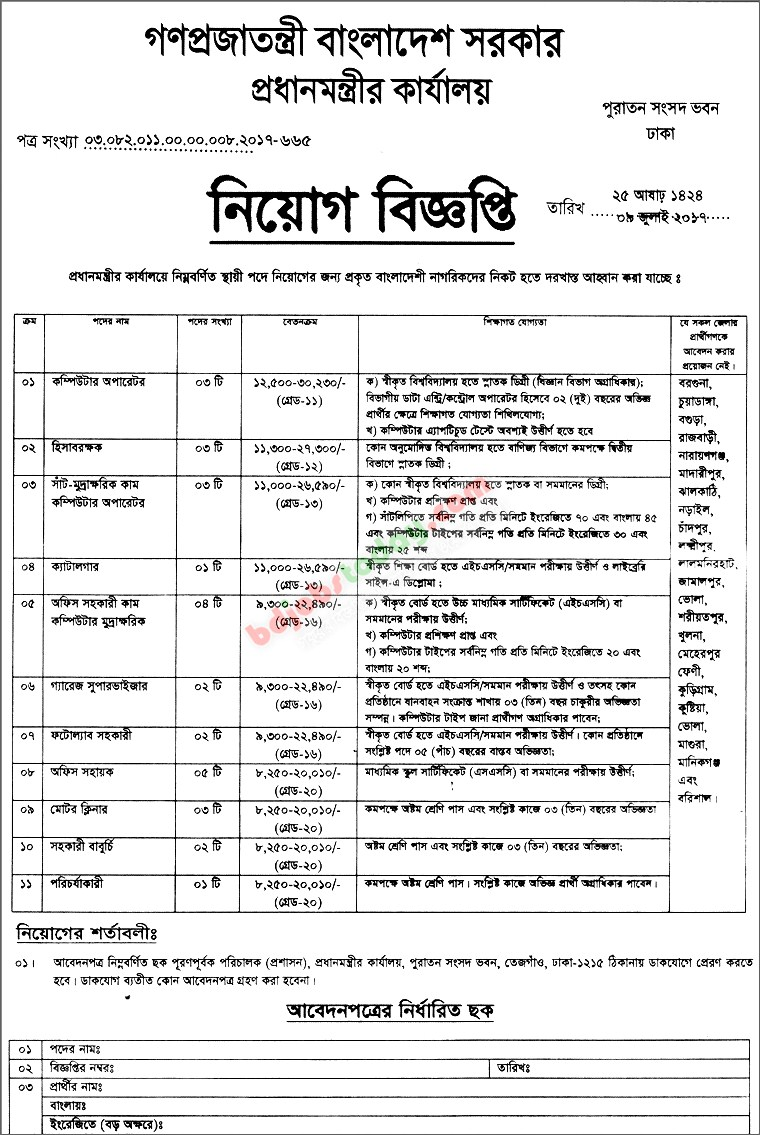 Office of Prime Minister jobs