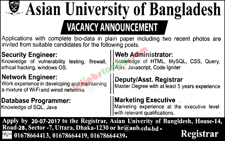 Asian University of Bangladesh jobs