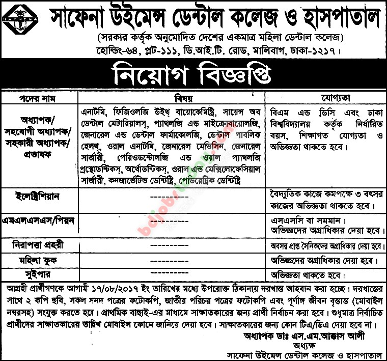 Professor Anatomy Job Bangladesh Mobile Version