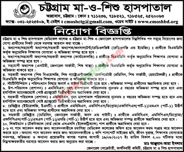 Chittagong Ma O Shishu Hospital jobs