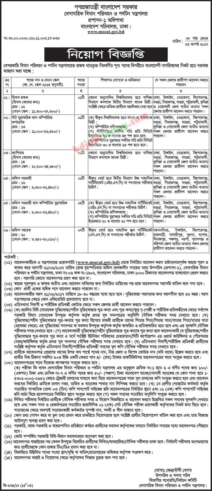 Ministry of Civil Aviation and Tourism jobs