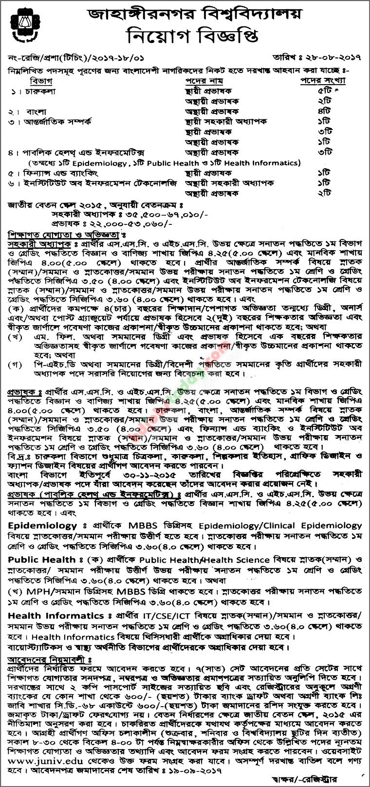 Jahangirnagar University jobs