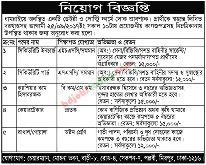 A Dairy Farm, Dhamrai jobs
