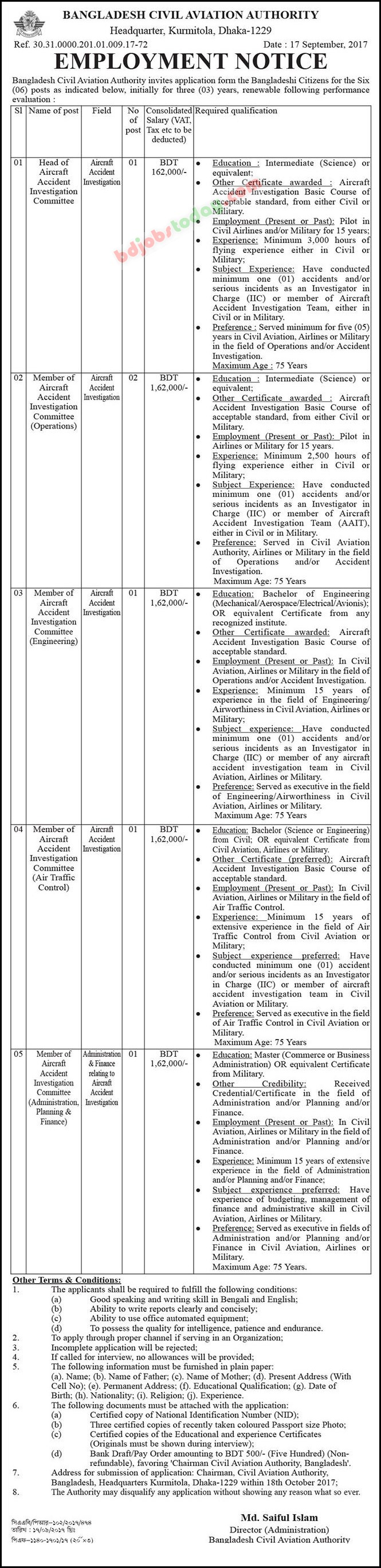Bangladesh Civil Aviation Authority jobs