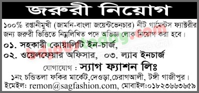 Sag Fashion Limited Asst Quality Incharge Jobs