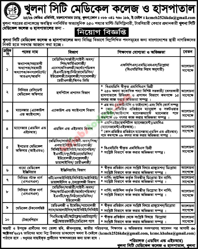 Khulna City Medical College  Hospital Medical Technologist Jobs