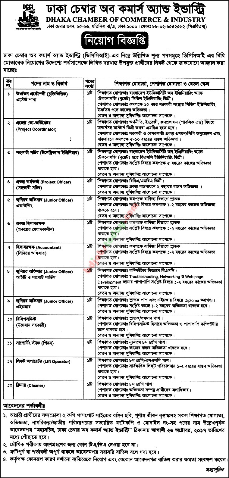 Dhaka Chamber of Commerce and Industry jobs