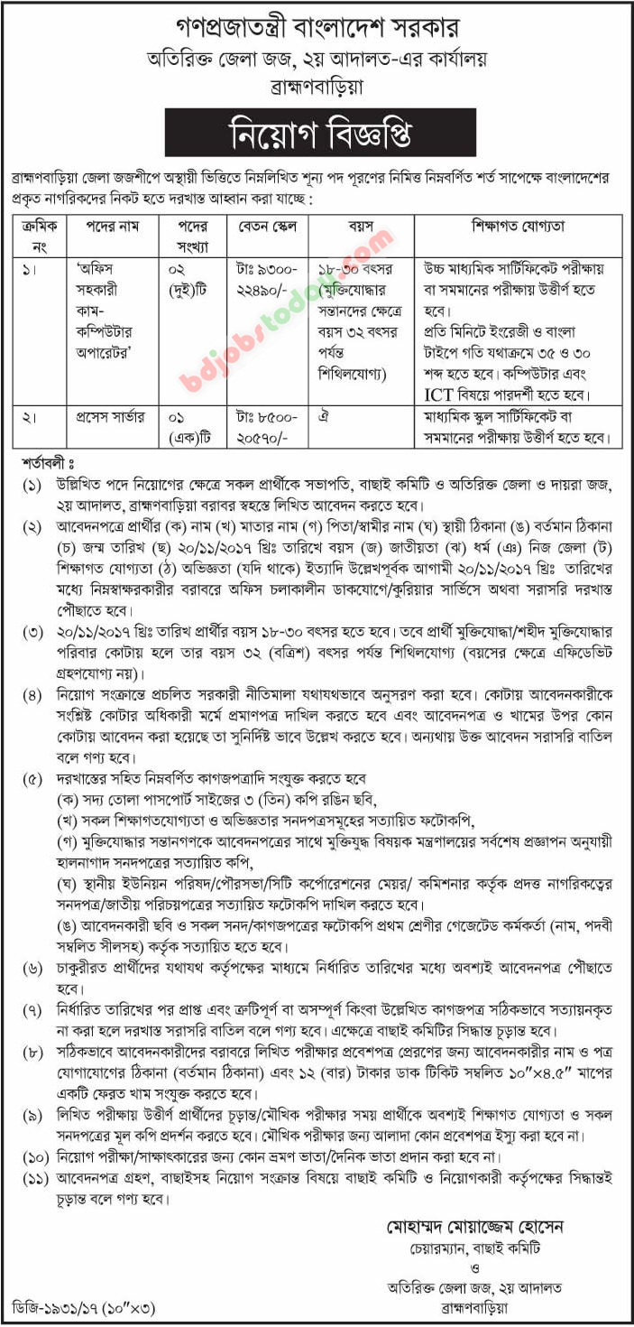 Office of Additional District Judge, B.Baria jobs