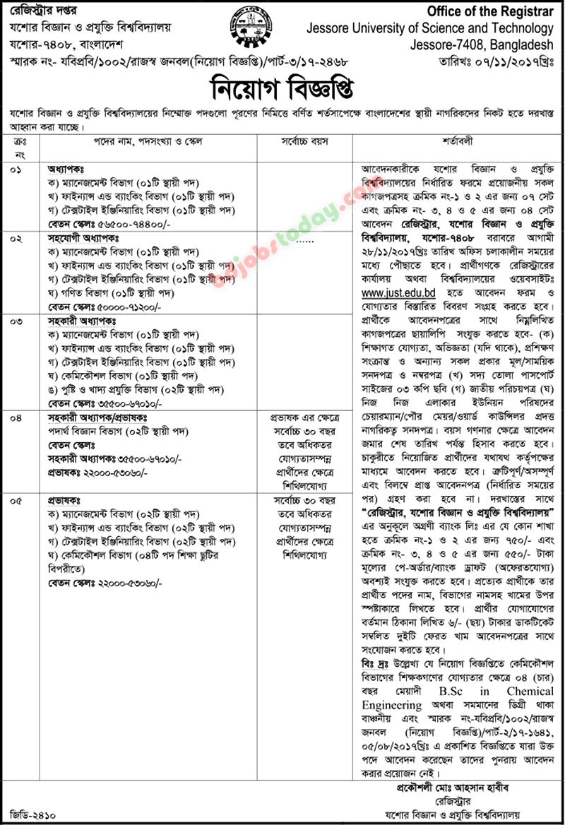 Jessore University of Science and Technology-JUST jobs