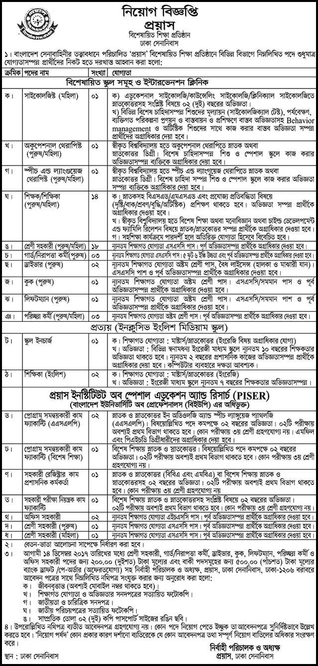 Proyash Institute of Special Education jobs