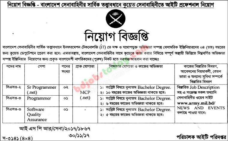 Bangladesh Army Cso Sr Programmer Net Jobs  BdjobstodayCom