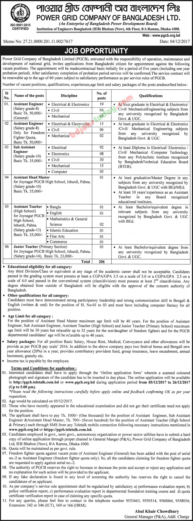 Power Grid Company Of Bangladesh Ltd jobs