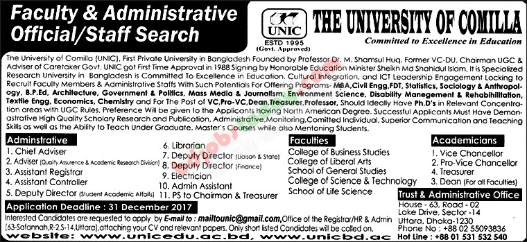 The University of Comilla jobs