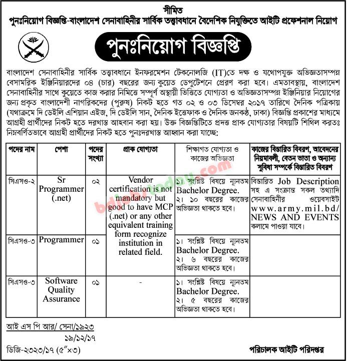 Bangladesh Army Senior Programmer Net Jobs  BdjobstodayCom