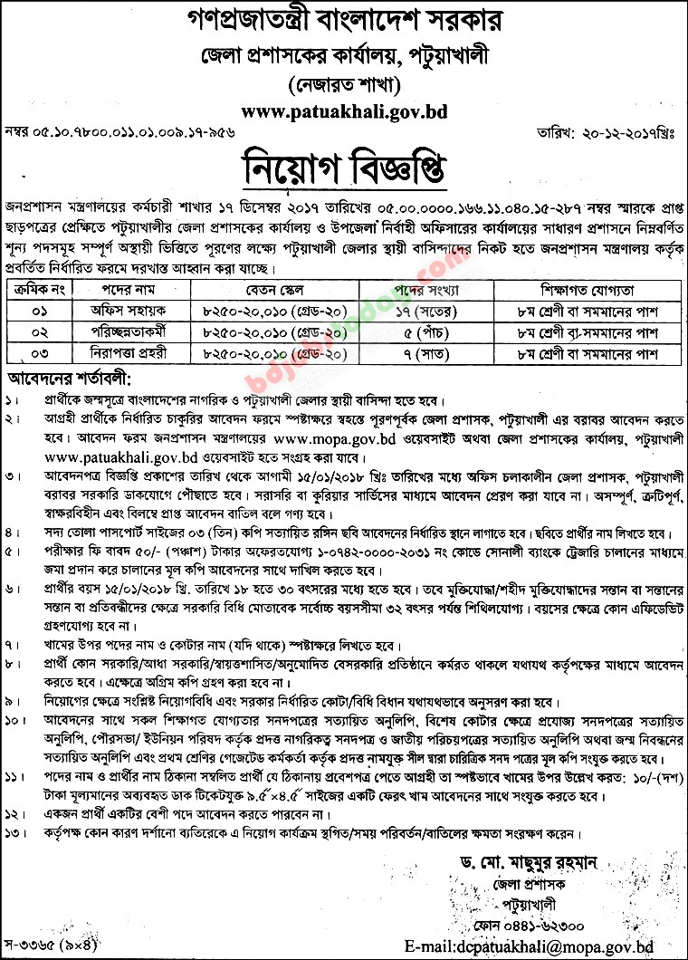 Office of District Commissioner, Potuakhlai jobs