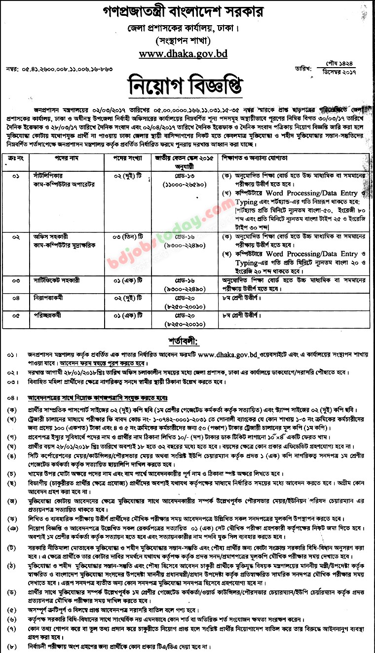 Office of District Commissioner, Dhaka jobs