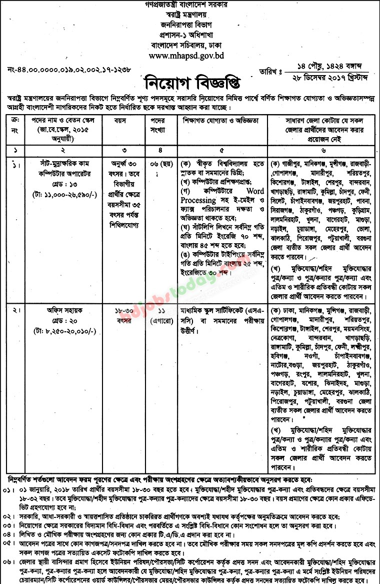 Ministry of Home Affairs jobs
