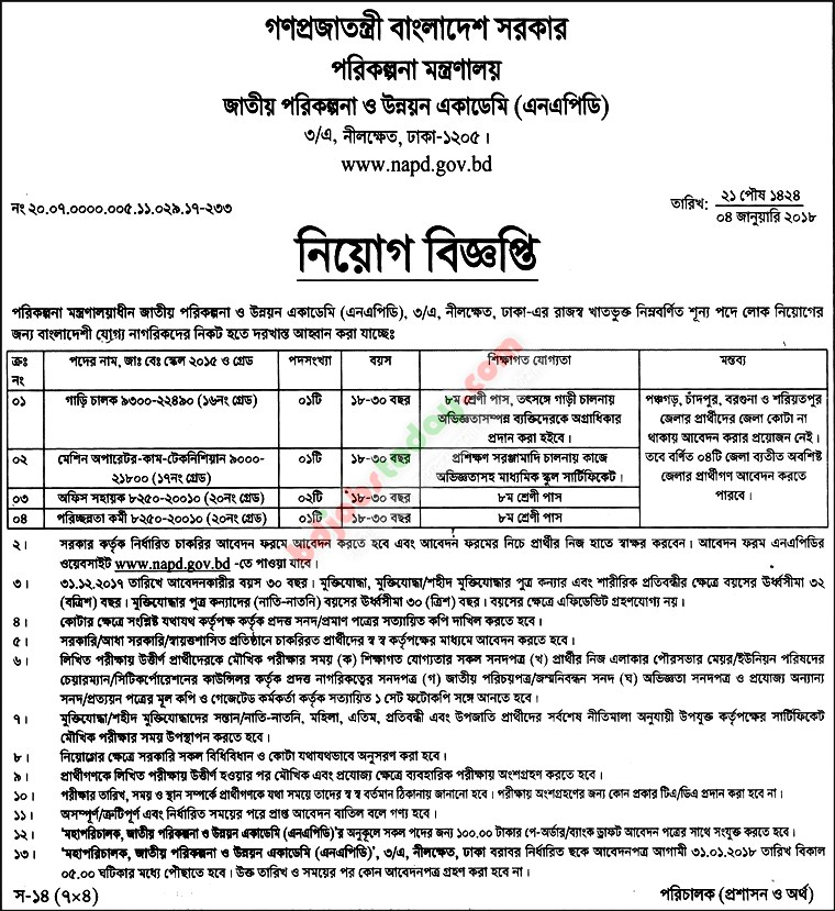 National Academy for Planning and Development (NAPD) jobs
