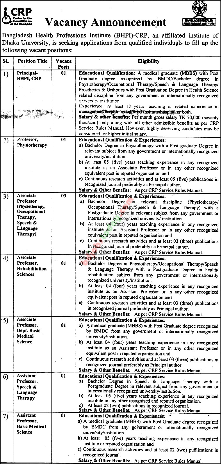 Bangladesh Health Professions Institute (BHPI)-CRP jobs