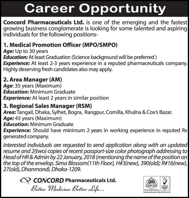 Concord Pharmaceuticals Ltd jobs