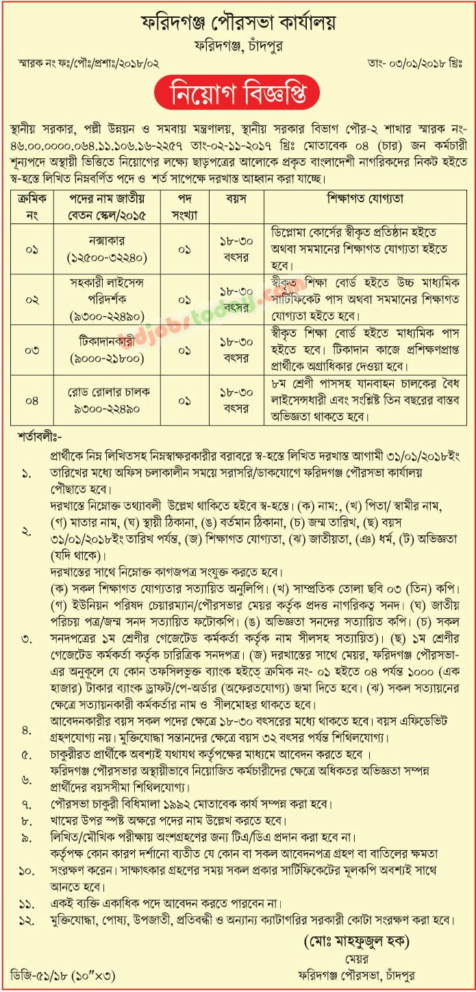 Faridganj Municipality jobs