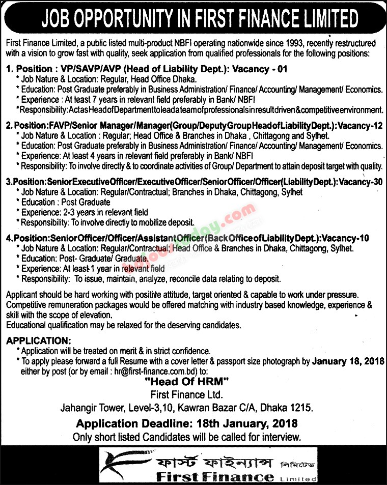 First Finance Limited jobs