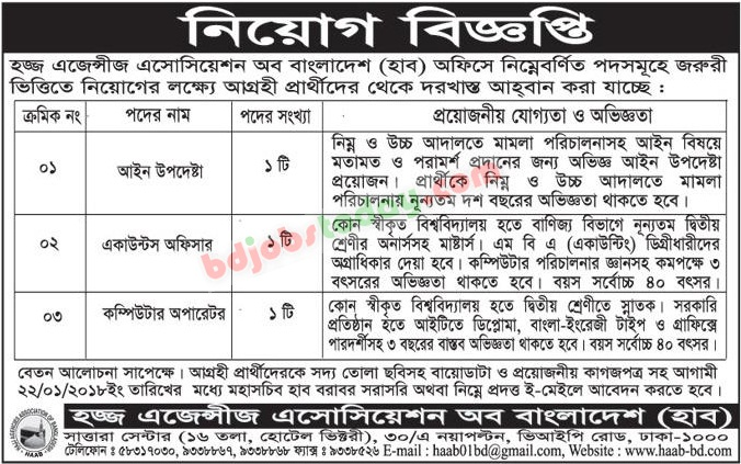 Hajj Agencies Association of Bangladesh (HAAB) jobs
