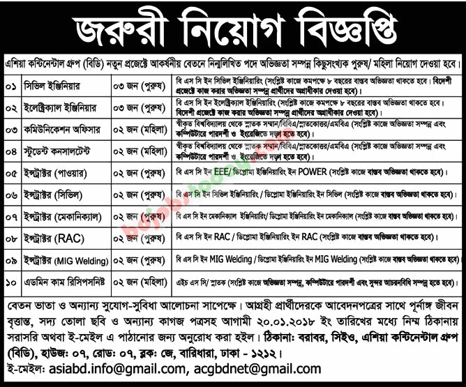 Asian Continental Group (BD) jobs