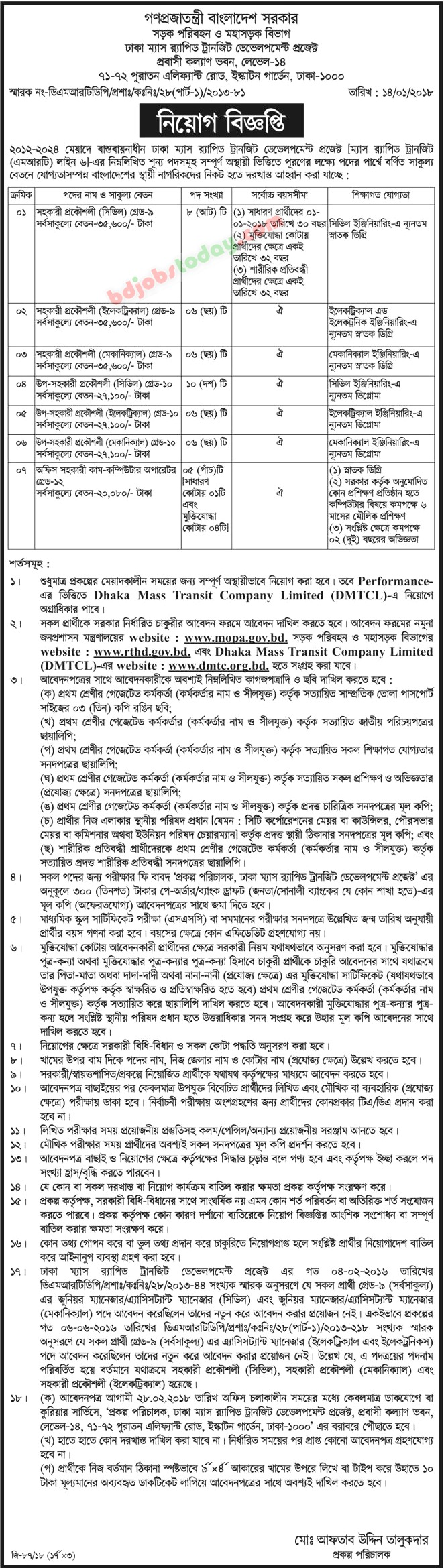 Dhaka Mass Rapid Transit Development Project jobs
