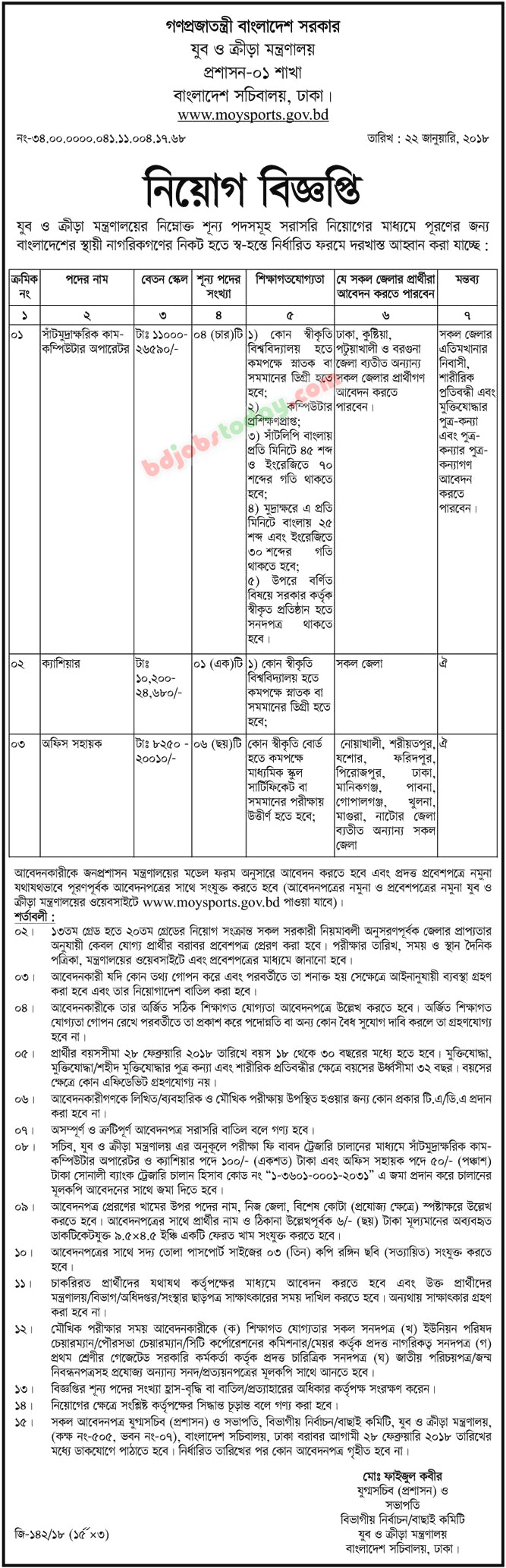 Ministry of Youth and Sports jobs