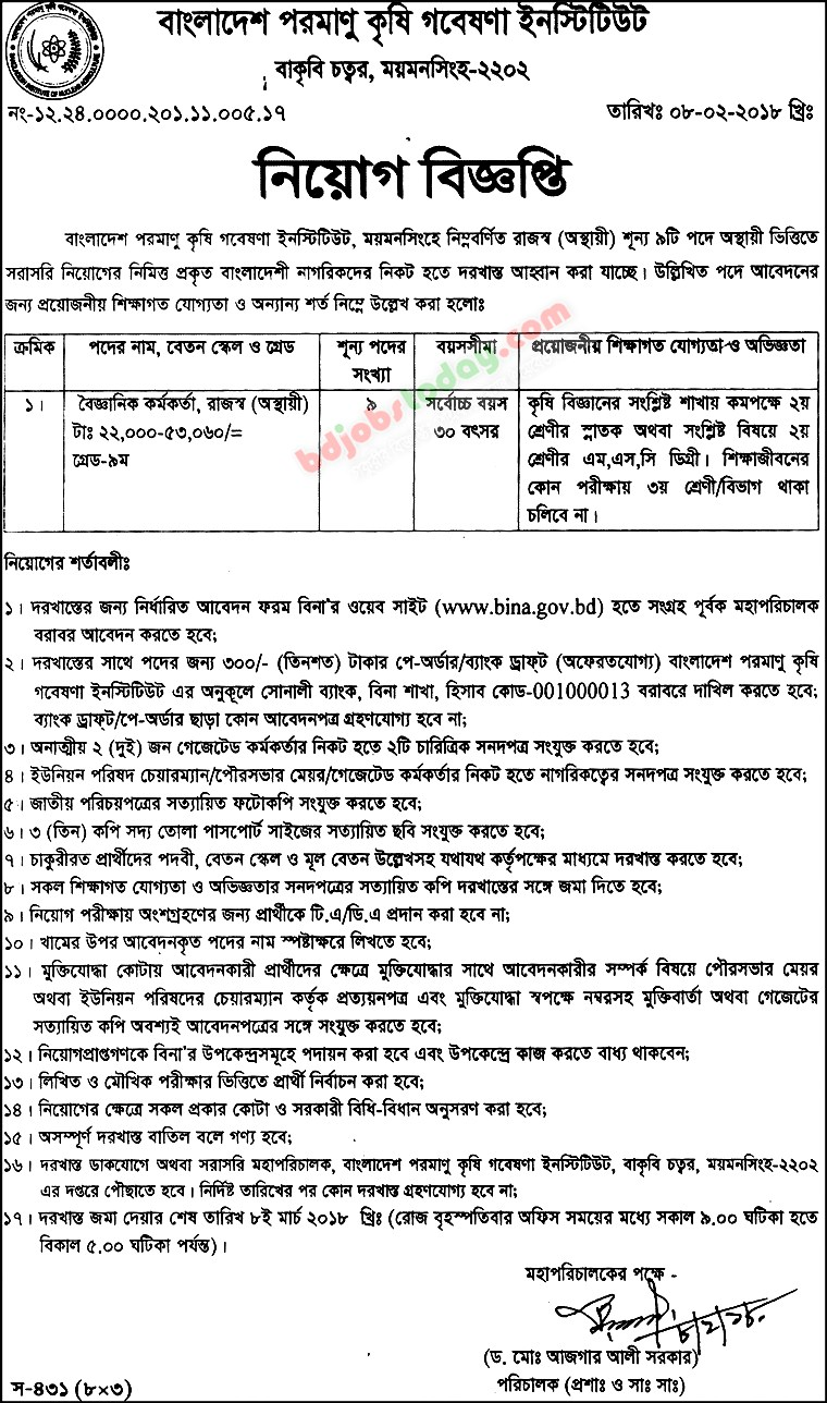 Bangladesh Institute of Nuclear Agriculture (BINA) jobs