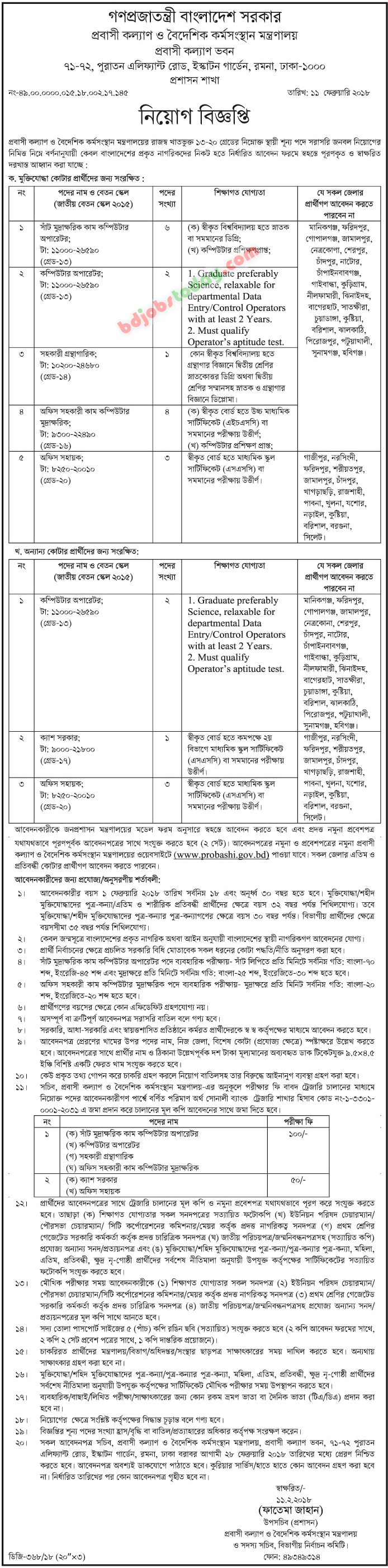 Ministry of Expatriates Welfare and Overseas Employment jobs