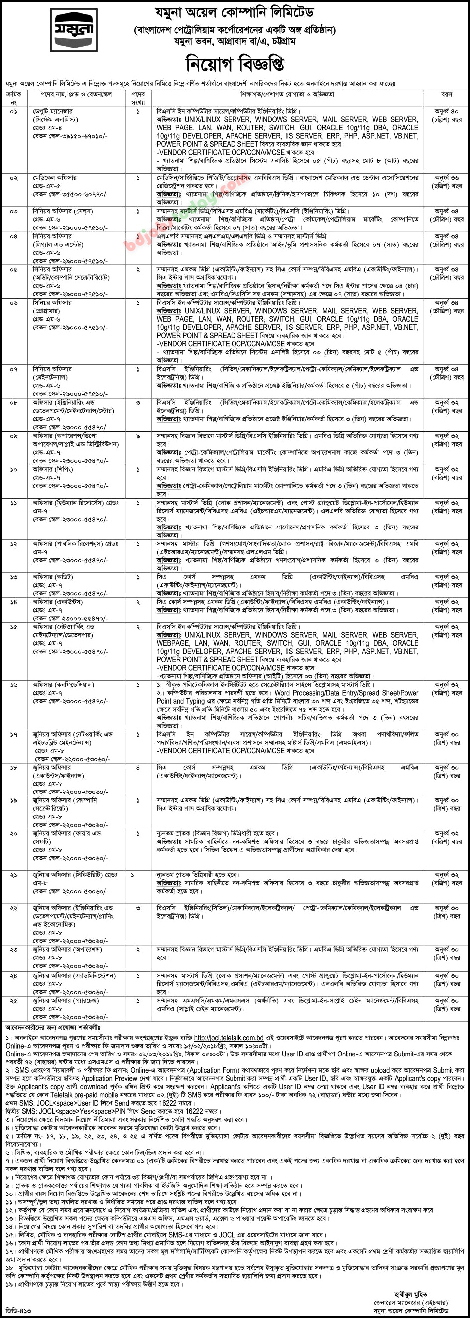 Jamuna Oil Company Limited jobs