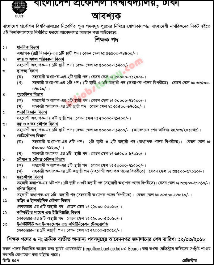 Bangladesh University of Engineering and Technology -BUET jobs