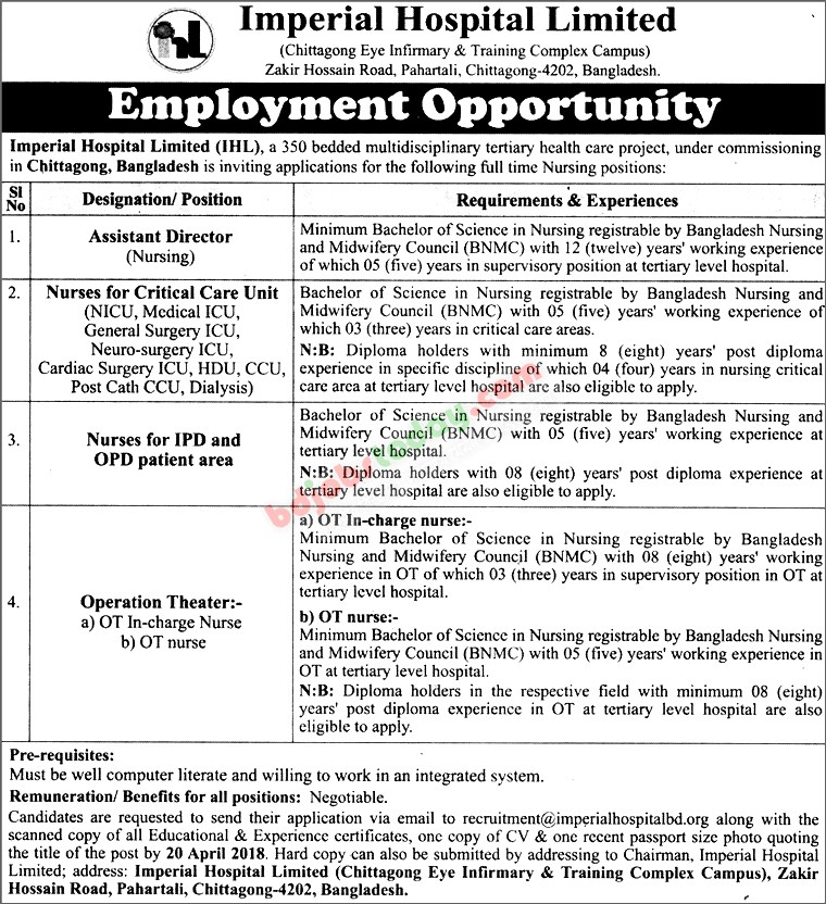 Imperial Hospital Limited jobs