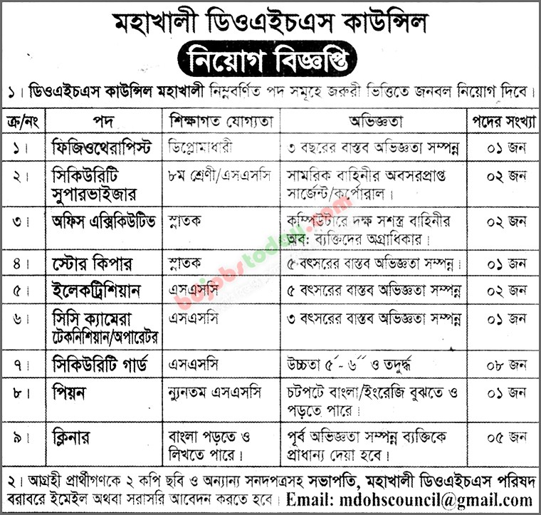 Mohakhali DOHS Council jobs