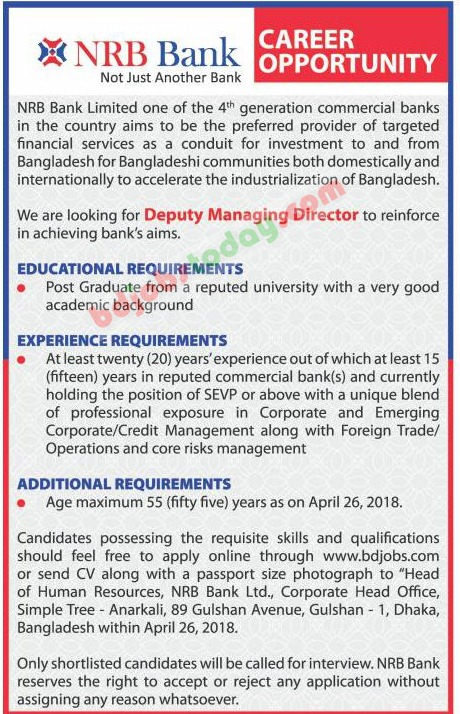 NRB Bank Limited jobs