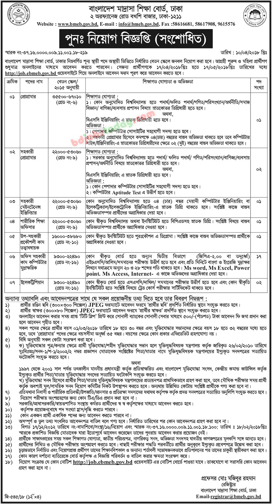 Bangladesh Madrasha Education Board jobs