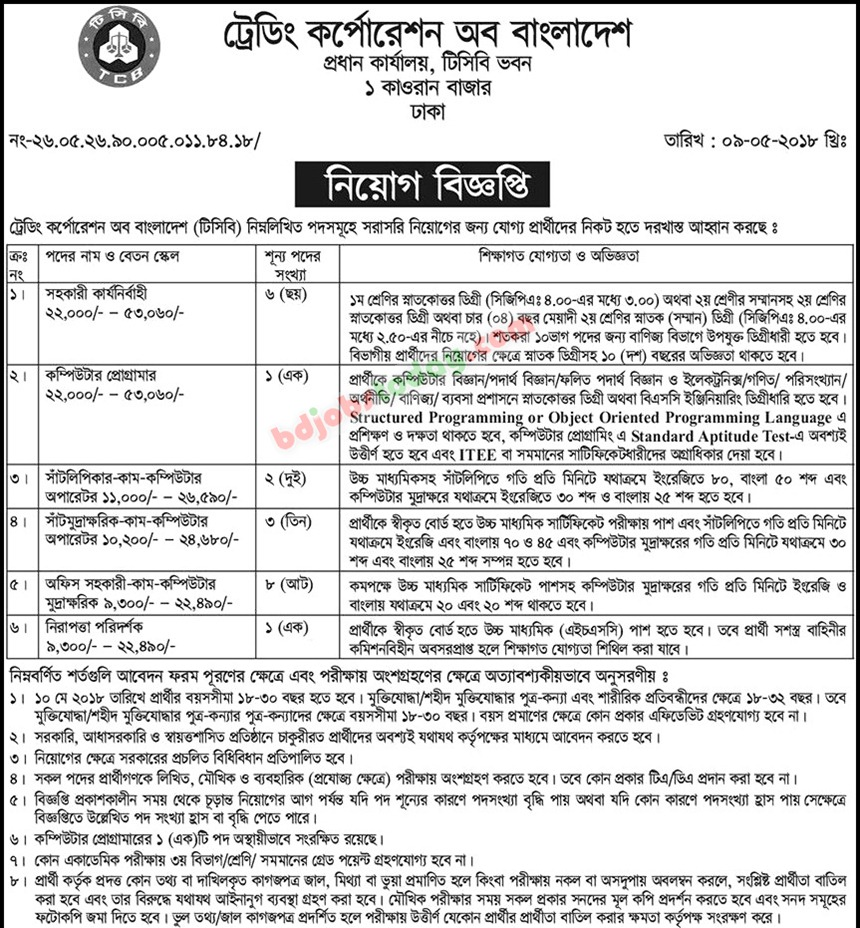 Trading Corporation of Bangladesh (TCB) jobs