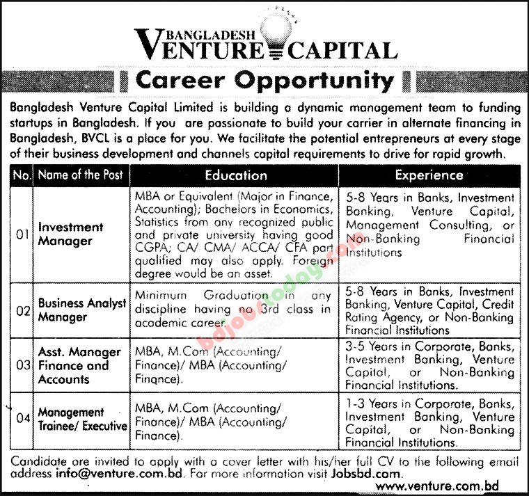 Bangladesh Venture Capital Ltd jobs