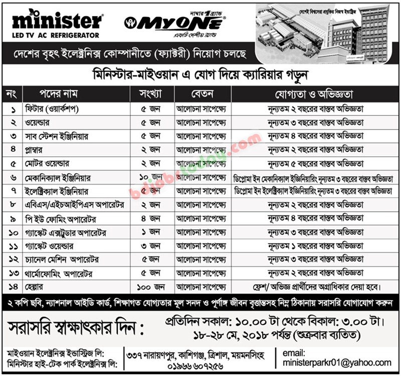 Minister-MyOne Group jobs